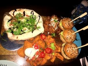 Mushroom Pizza, Salted Caramel Chicken Strips, Mini Burgers and Sweet Potato Crisps